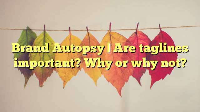 Brand Autopsy | Are taglines important? Why or why not?