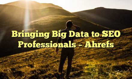 Bringing Big Data to SEO Professionals – Ahrefs