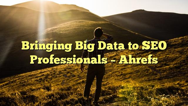 Bringing Big Data to SEO Professionals – Ahrefs